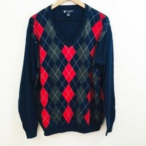 Oxford Golf Merino Wool V-Neck Argyle Sweater